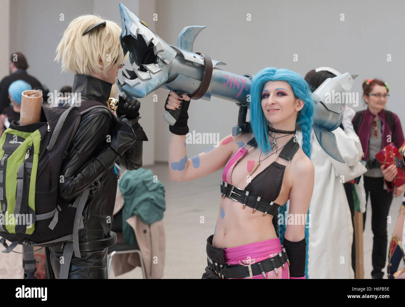 BRNO, CZECH REPUBLIC - APRIL 30, 2016: Cosplayer dressed as character Jinx from League of Legends poses at Animefest - Stock Image