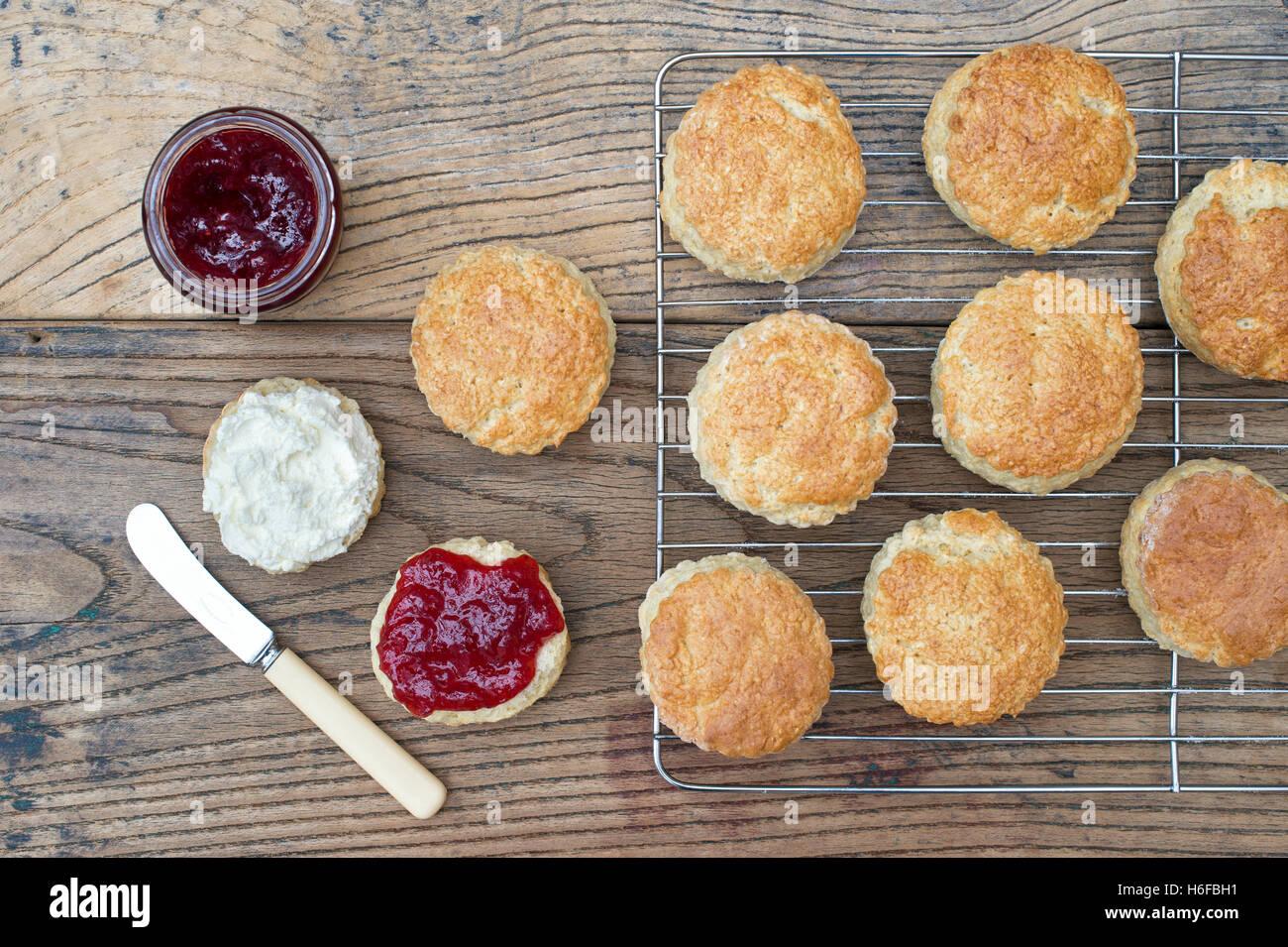 Devonshire Scones with Jam and Cream - Stock Image