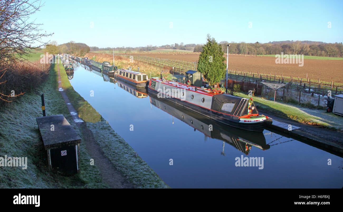 Barges or narrowboats moored at Norbury Junction on the Shropshire Union Canal Norbury near to Stafford Staffordshire - Stock Image
