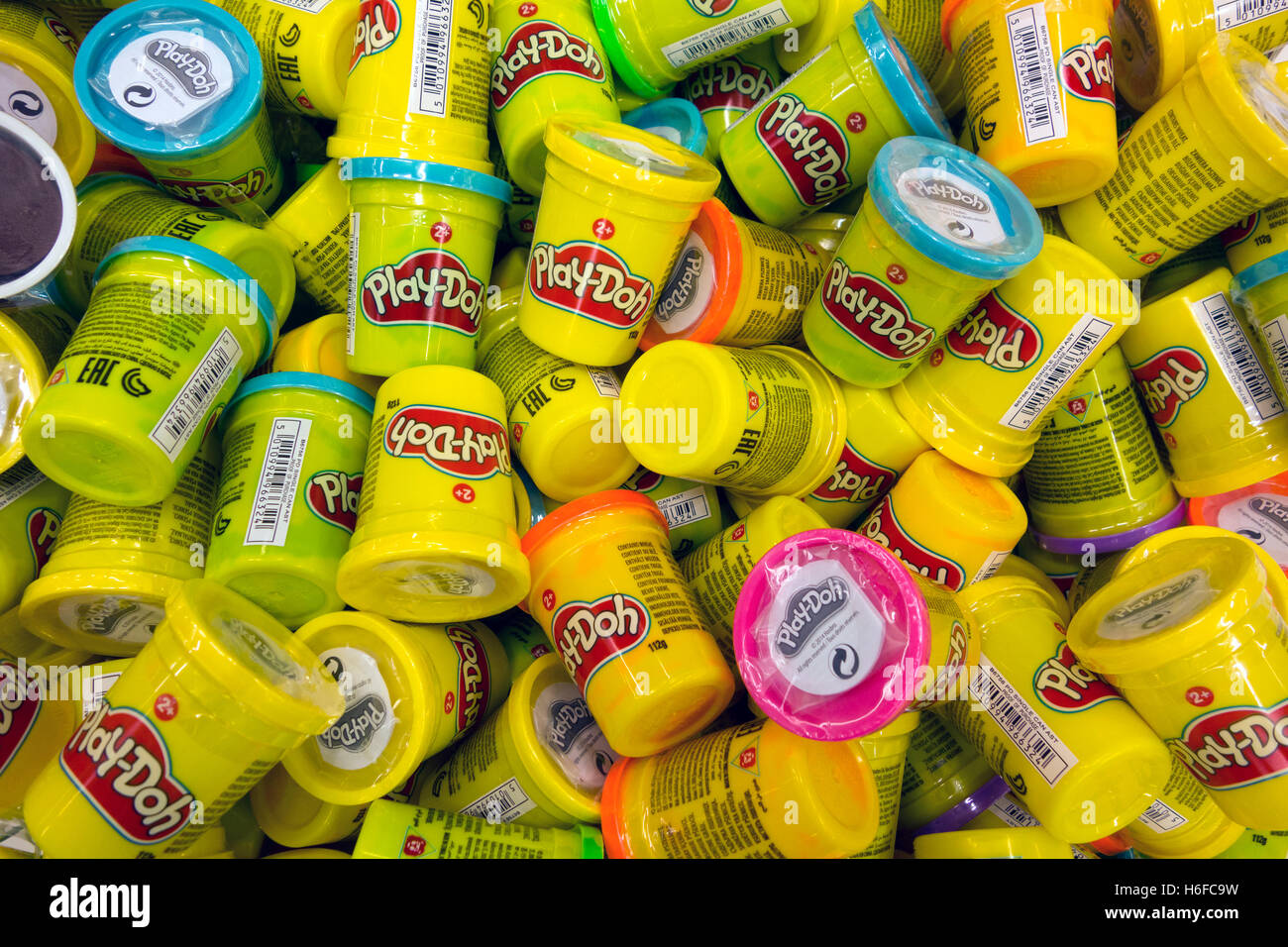 Paphos, Cyprus - October 18, 2016 Heap of Play-Doh containers with different color  modeling compound. - Stock Image