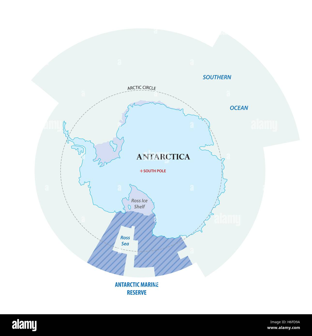 Map of the Antarctic with the new sea protection area in the Ross Sea Stock Vector