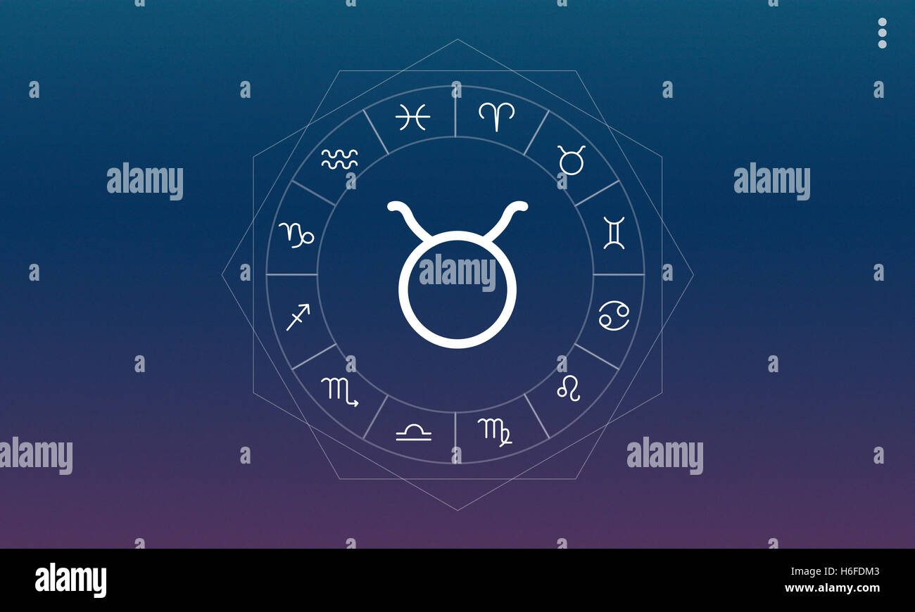 Taurus Symbol Horoscope Zodiac Fortune Graphic Concept Stock Photo