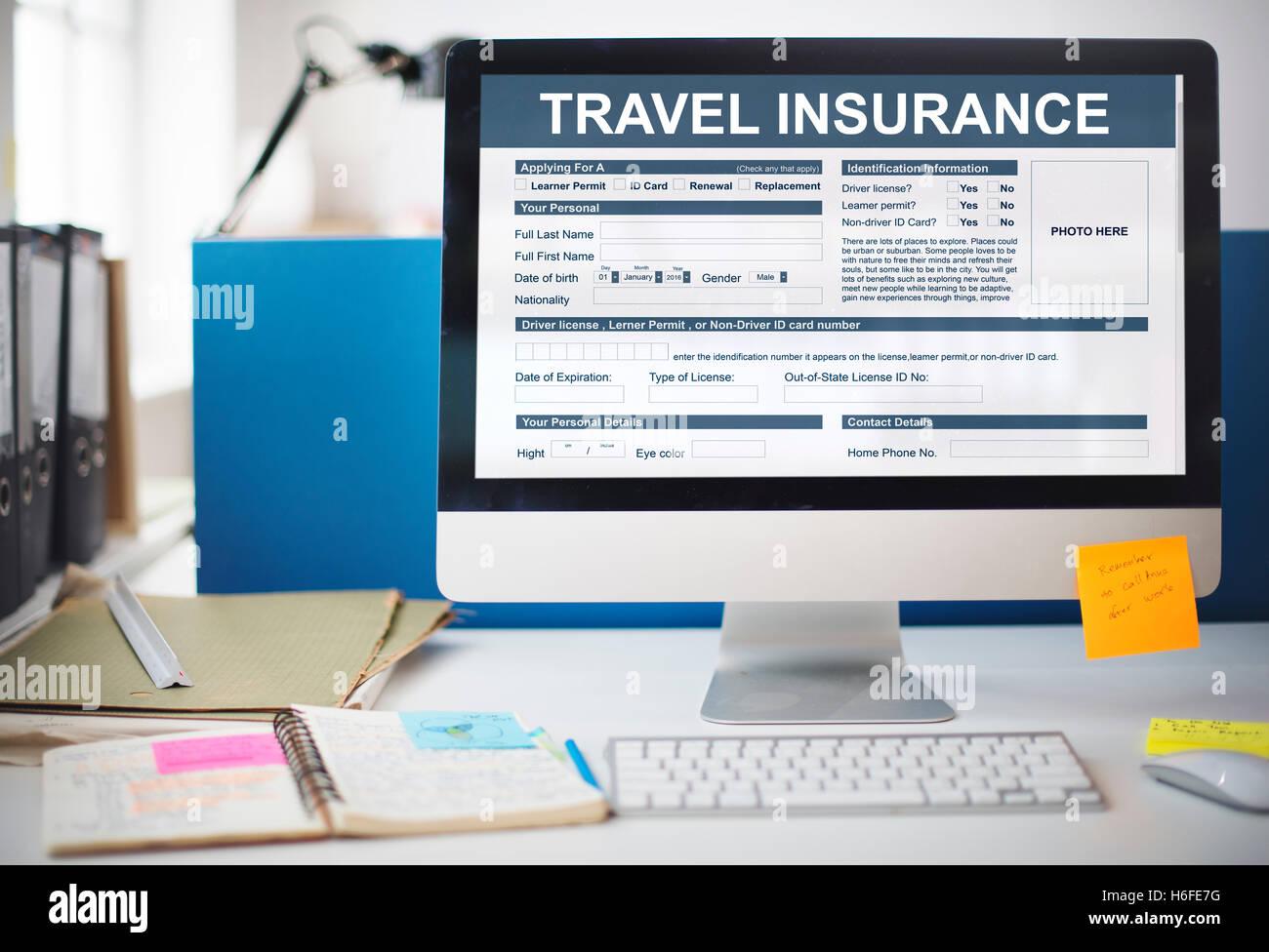 Travel Insurance Form Transportation Concept - Stock Image