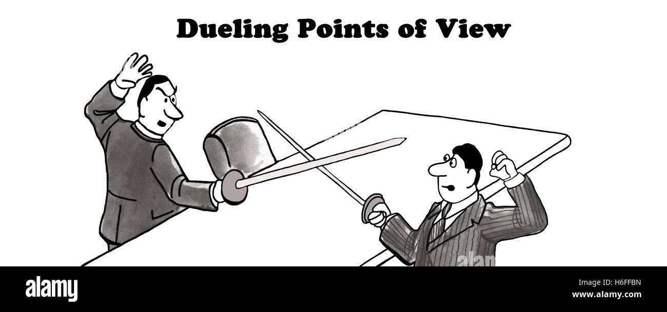 Black and white illustration of two men dueling, 'dueling points of view'. - Stock Image