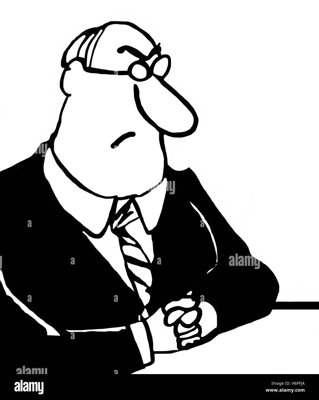 Black and white illustration of scowling man sitting at his desk. - Stock Image