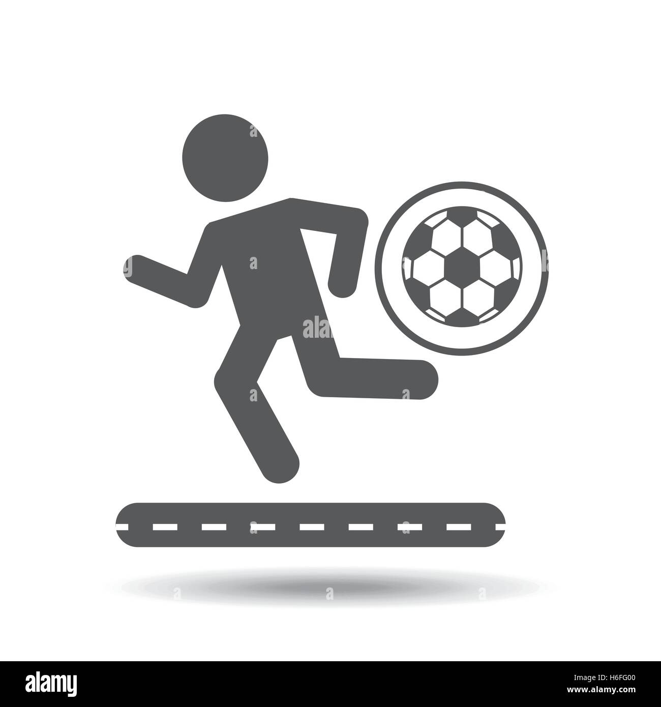 man silhouette running with ball soccer icon vector illustration eps 10 - Stock Vector