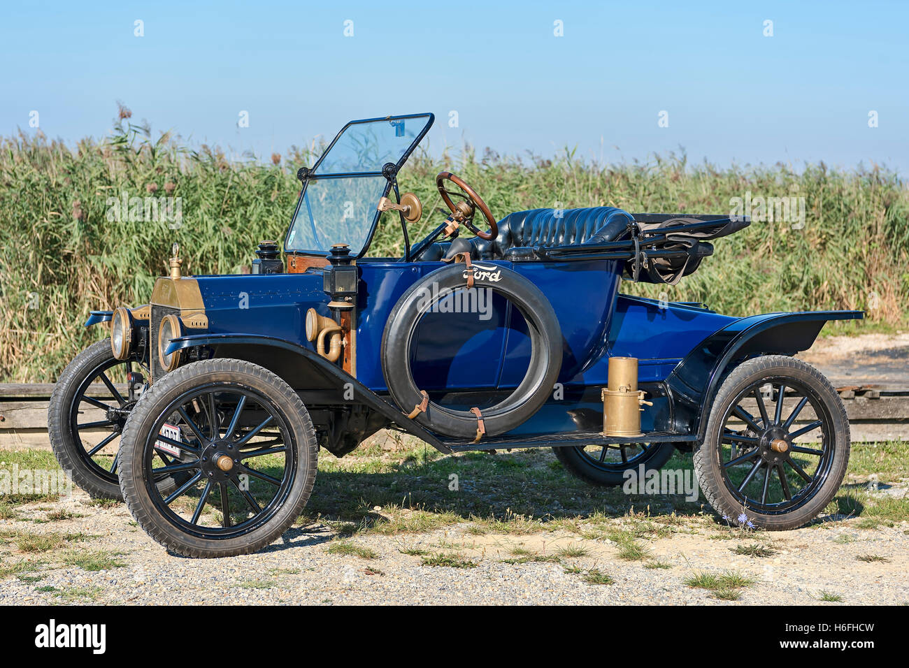 Oldtimer Ford T Runabout built in 1913, 4 cylinders, displacement 2700 cc, 2 forward gears, semi-automatic, 20 hp, - Stock Image