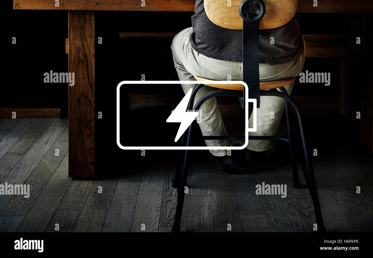 Rechargeable Energy Powered Charge Battery Concept - Stock Image
