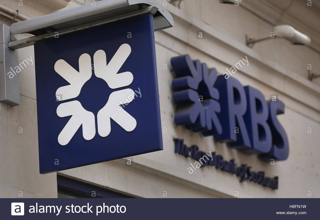 File photo dated 03/04/14 of a Royal Bank of Scotland sign, as the bank has swung to a £469 million loss - Stock Image