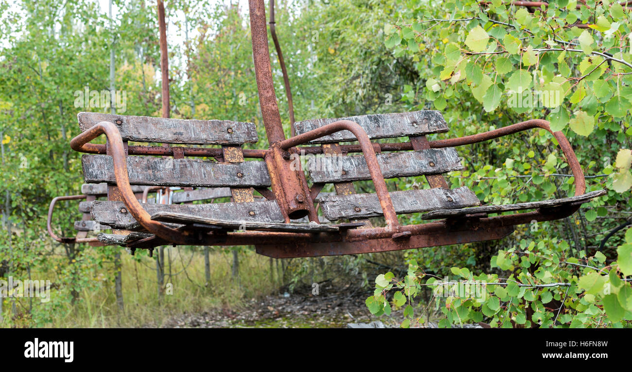 Rusty seat in Chernobyl - Stock Image