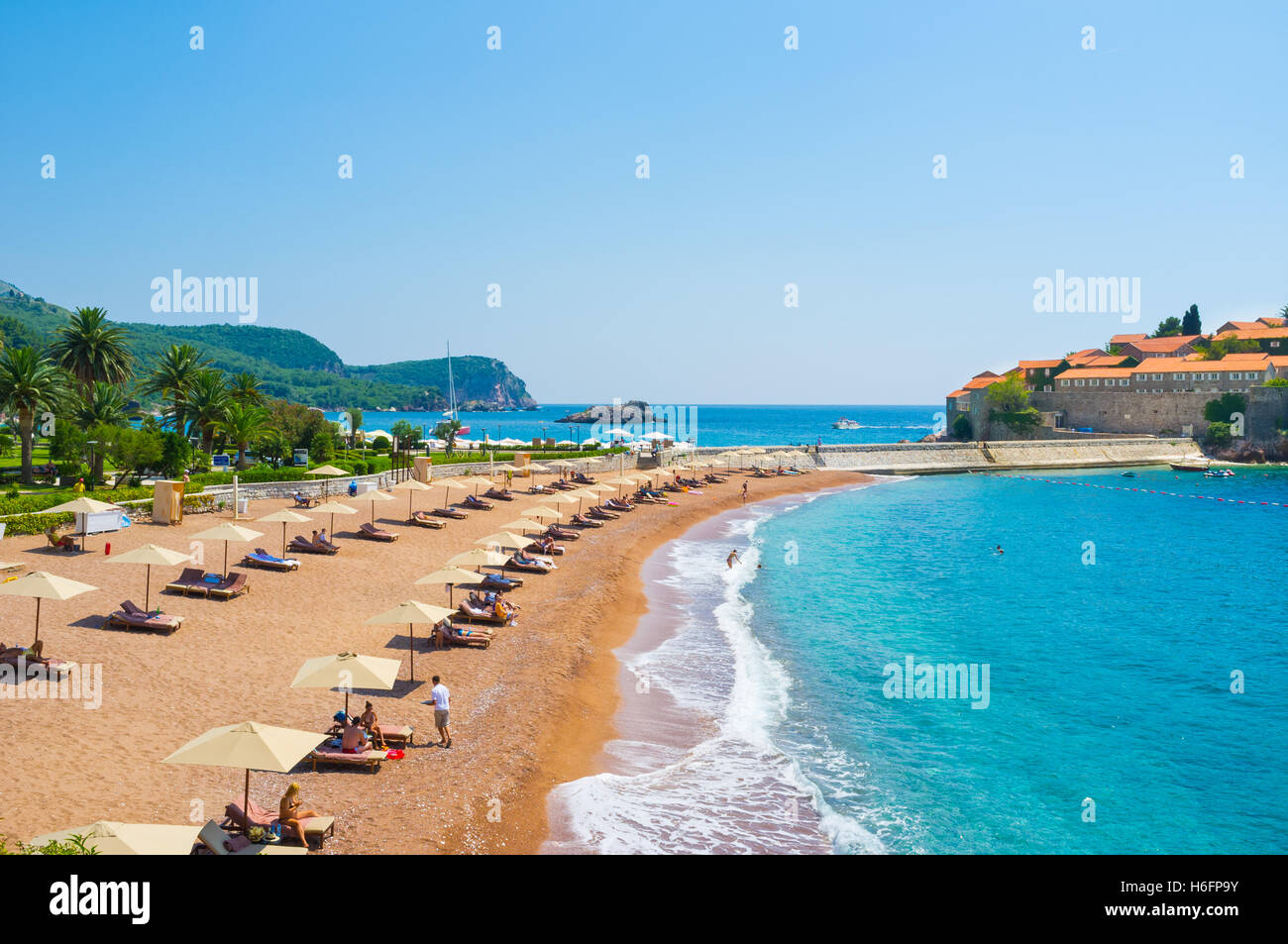 One of the most beautiful and expensive beaches of Montenegro, Sveti Stefan - Stock Image