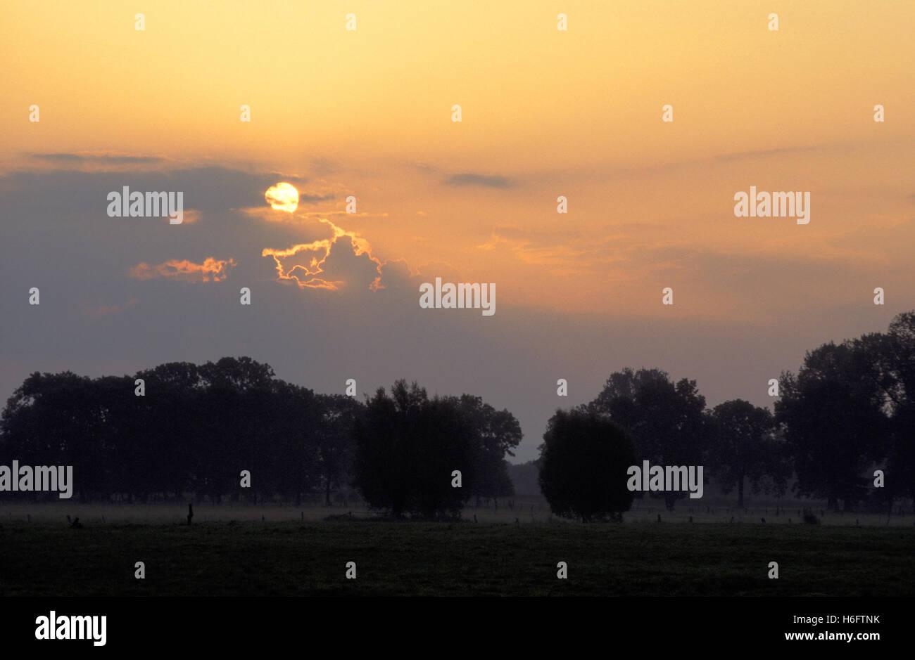 Germany, Lower Saxony, sunrise in Moellenbeck near Rinteln. - Stock Image