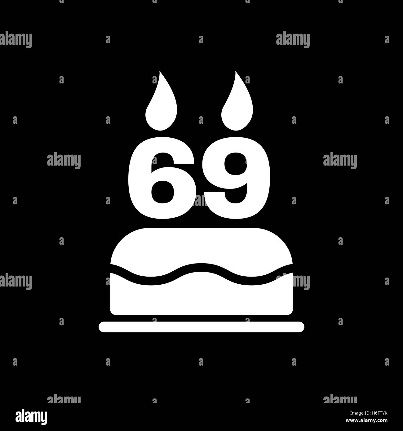 The Birthday Cake With Candles In The Form Of Number 69 Icon Stock