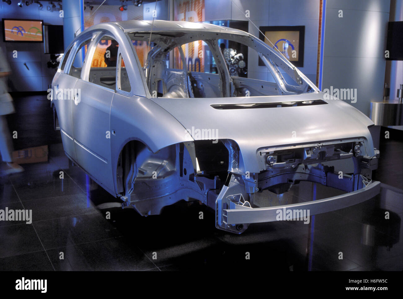 Germany, Wolfsburg, the Volkswagen Autostadt, aluminium coachwork of the Audi A2. - Stock Image