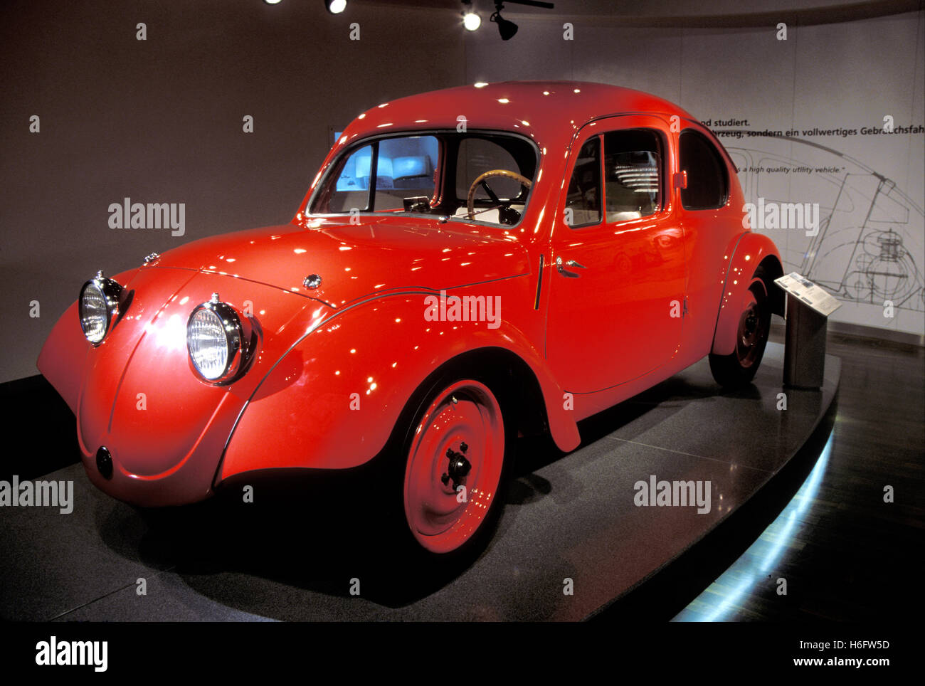 Germany, Wolfsburg, the Volkswagen Autostadt, VW Beetle prototype from 1935 at the Zeithaus. - Stock Image