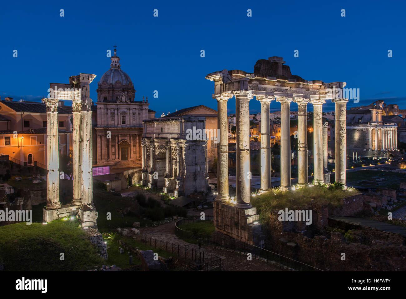Night view of the Roman Forum, Rome, Lazio, Italy Stock Photo