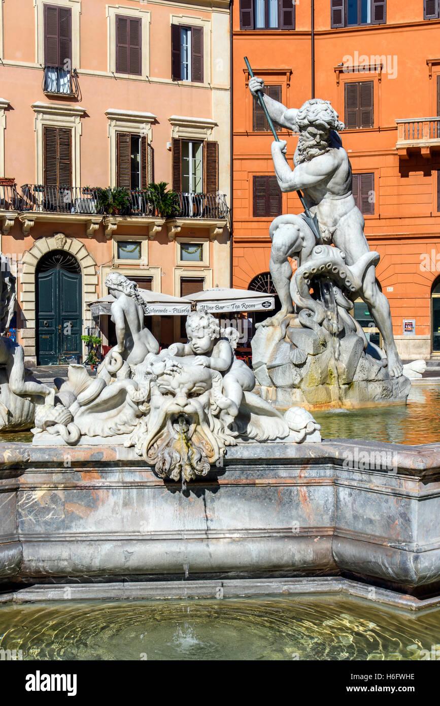 Fountain of Neptune, Piazza Navona, Rome, Lazio, Italy - Stock Image