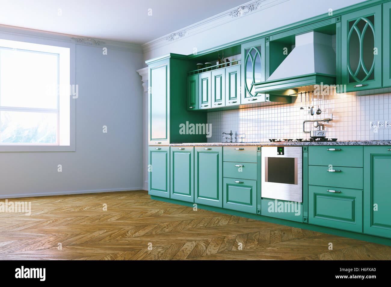 Wooden blue kitchen interior in classic style view 1 . 3d render ...