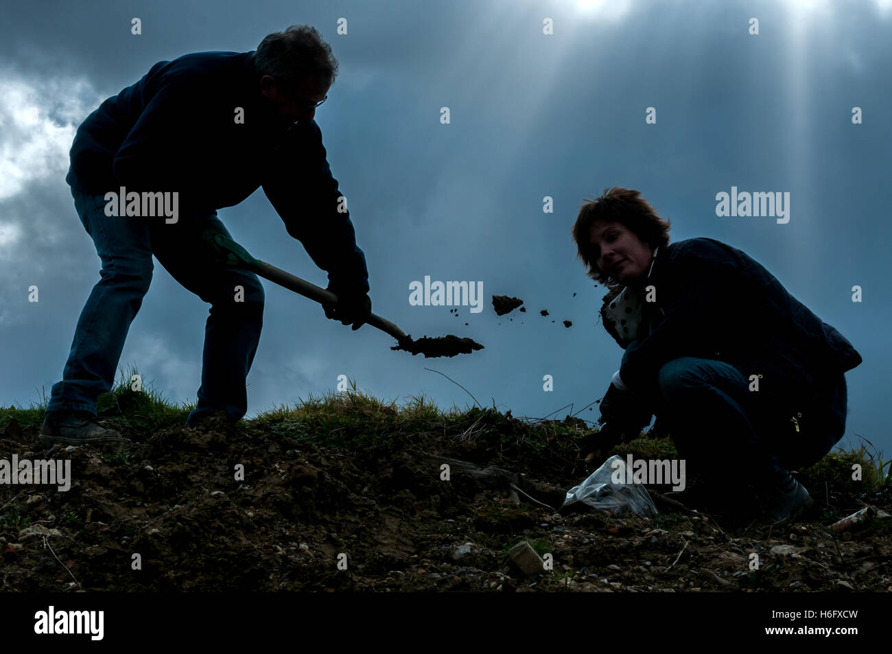 Amateur archaeologists on a dig in West Sussex. - Stock Image