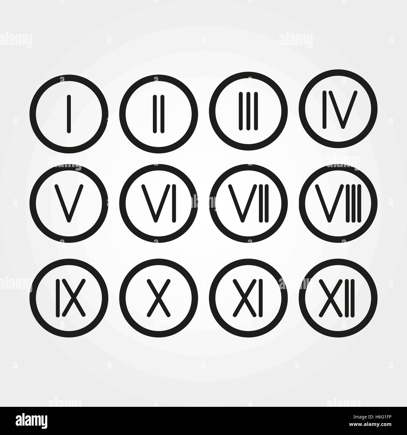 The set roman numerals 1 12 icon vector stock vector art the set roman numerals 1 12 icon vector thecheapjerseys Choice Image