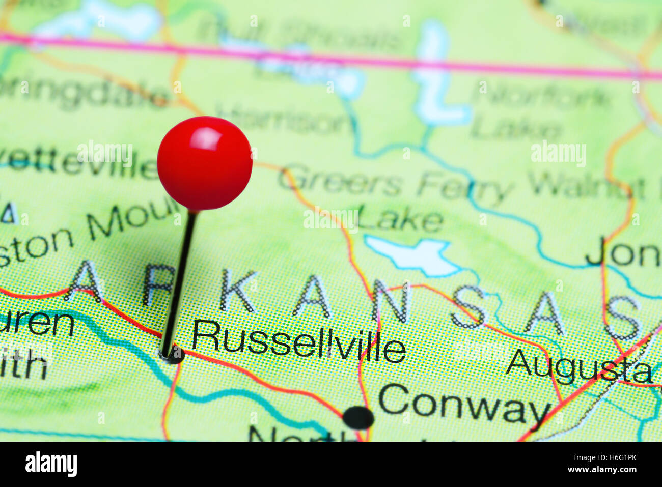 Russellville Arkansas Map.Russellville Pinned On A Map Of Arkansas Usa Stock Photo 124513163