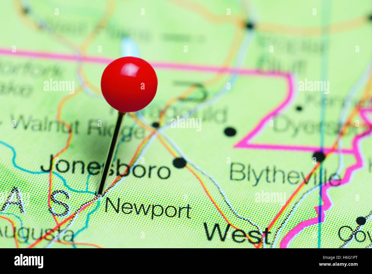 Newport Pinned On A Map Of Arkansas Usa Stock Photo 124513168 Alamy