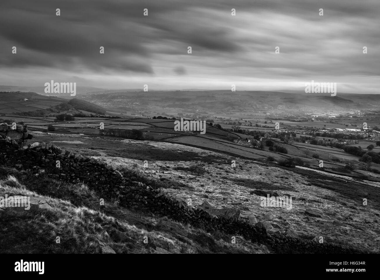 Evening long exposure taken from the hills above silsden keighley west yorkshire stock