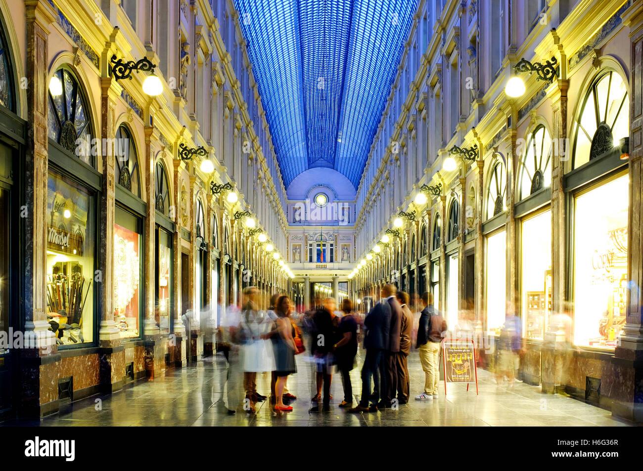 Galeries Royales Saint-Hubert, Brussels, Belgium - Stock Image