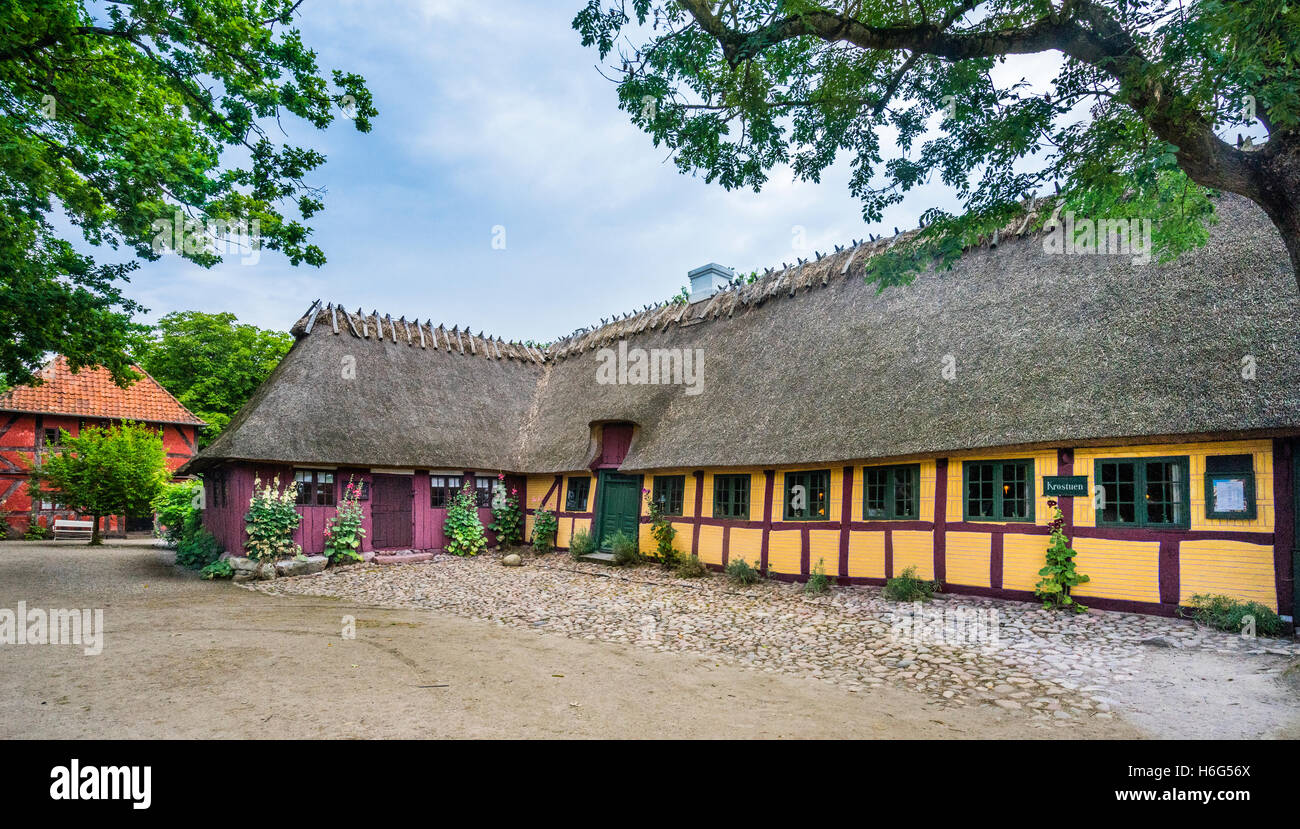 Denmark, Funen, Odense, Funen village open air museum, traditional timber framed farm house from the Melby aerea Stock Photo