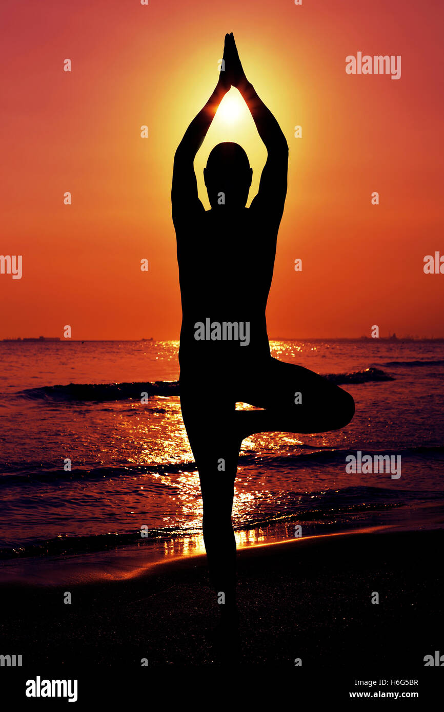 the silhouette of a young yogi man practicing the tree pose in front of the sea in backlight - Stock Image