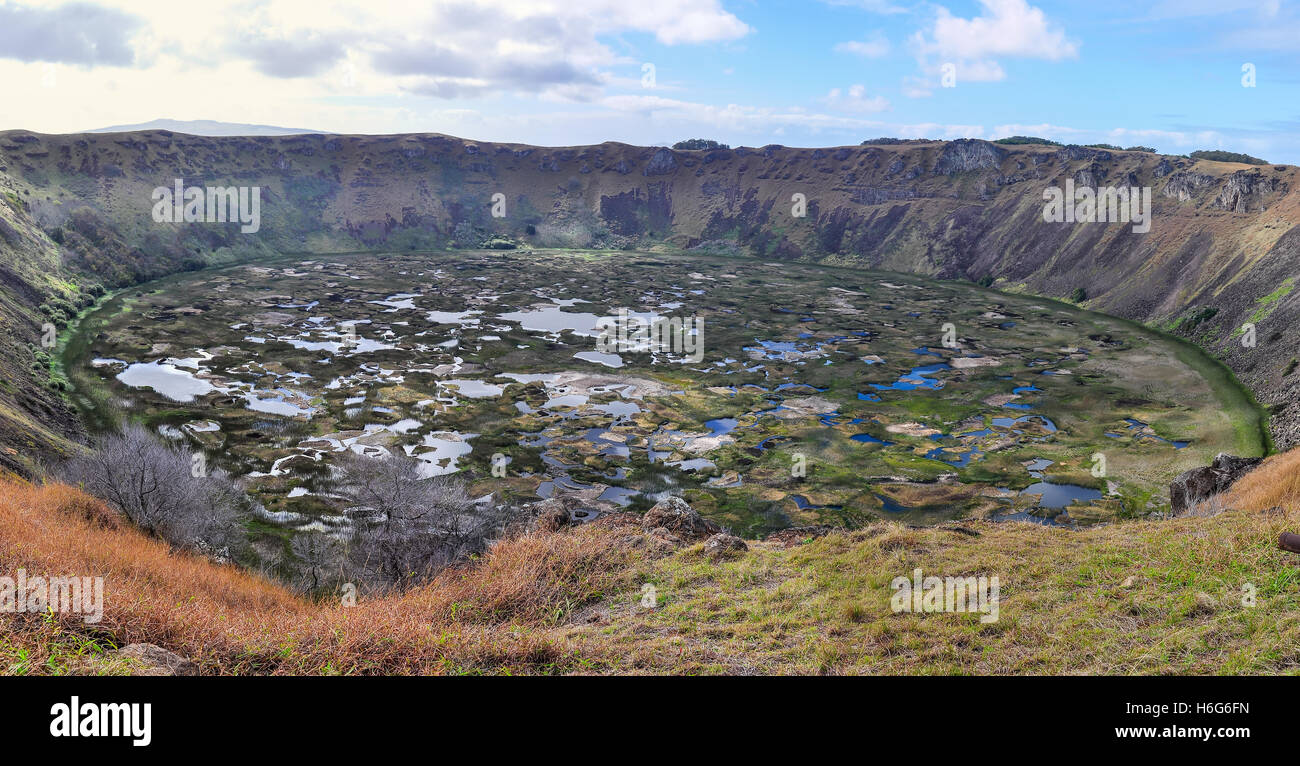 View of Rano Kau Volcano Crater on the most remote habited Easter Island, Chile - Stock Image