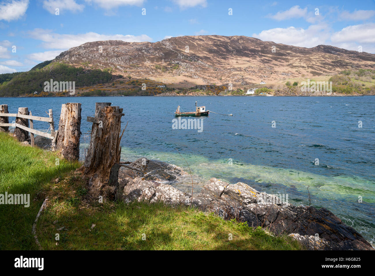 Looking across Loch Carron at South Strome, Kyle of Lochalsh,  Highland, Scotland, UK - Stock Image