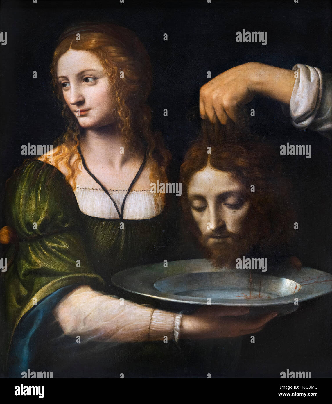 Salome with the Head of John the Baptist by Bernardo Luini (c.1480-1532), oil on panel, early 1500s. - Stock Image