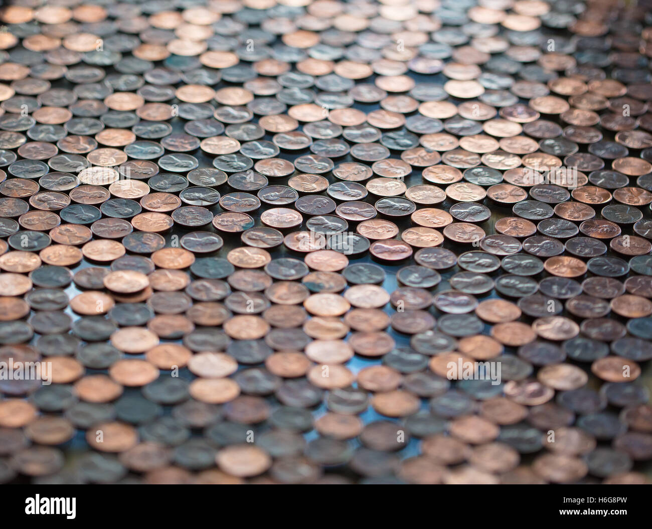 Large group of pennies with short depth of field for a background Stock Photo