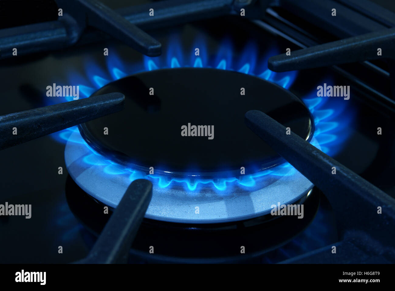 Gas ring on a domestic cooker or stove - Stock Image