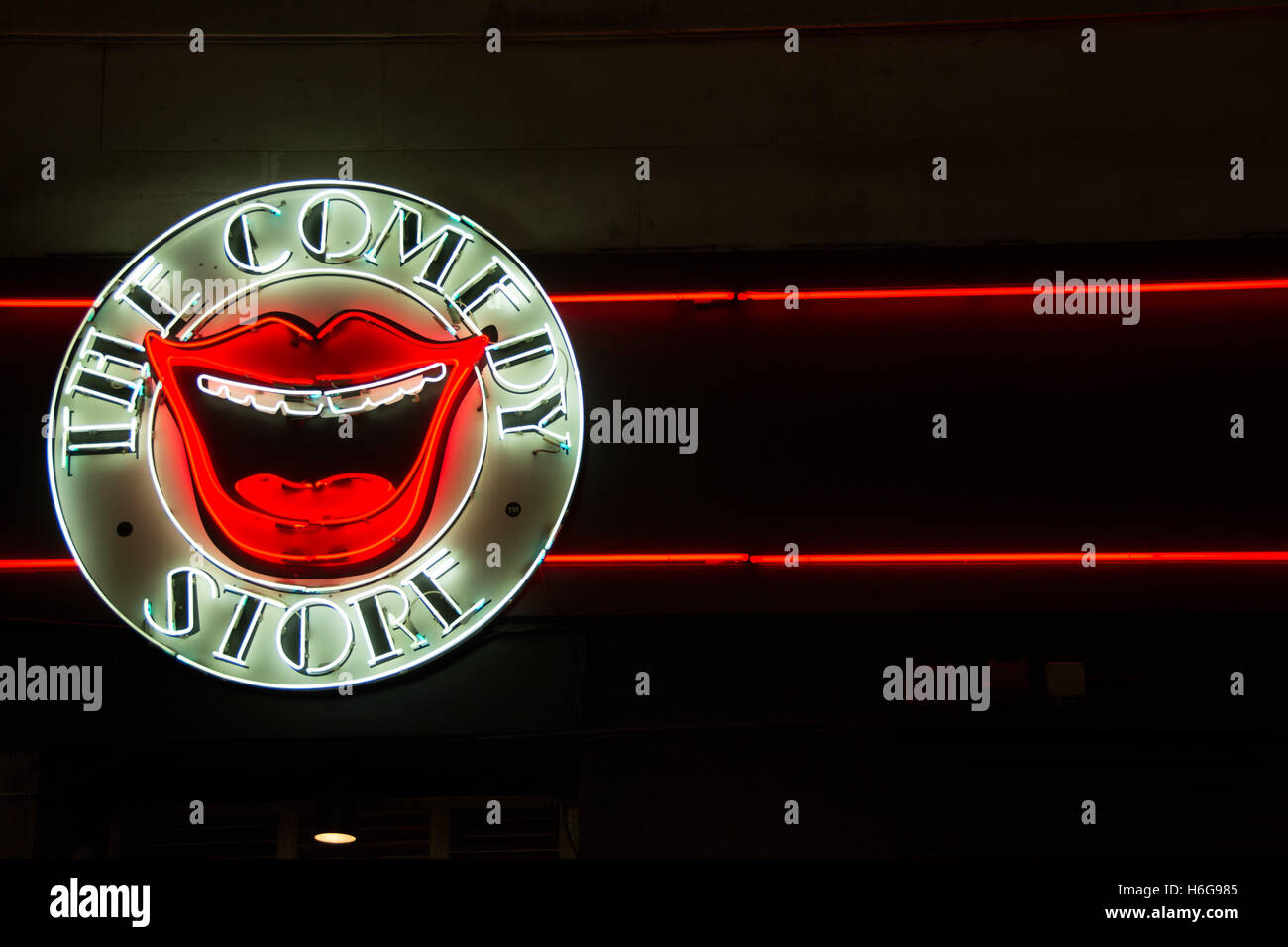 A neon sign outside the Comedy Store in London's West End, UK Stock Photo