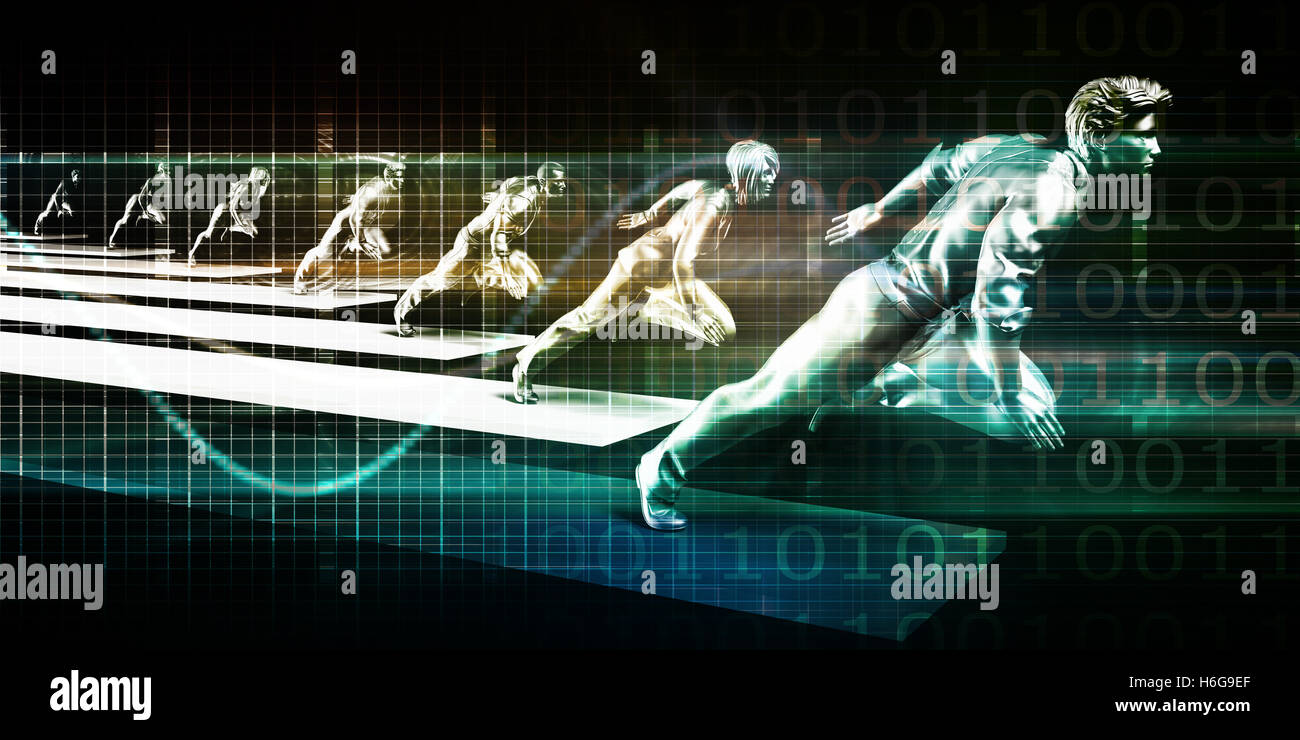 Business Growth Concept with Team Running in Unison - Stock Image