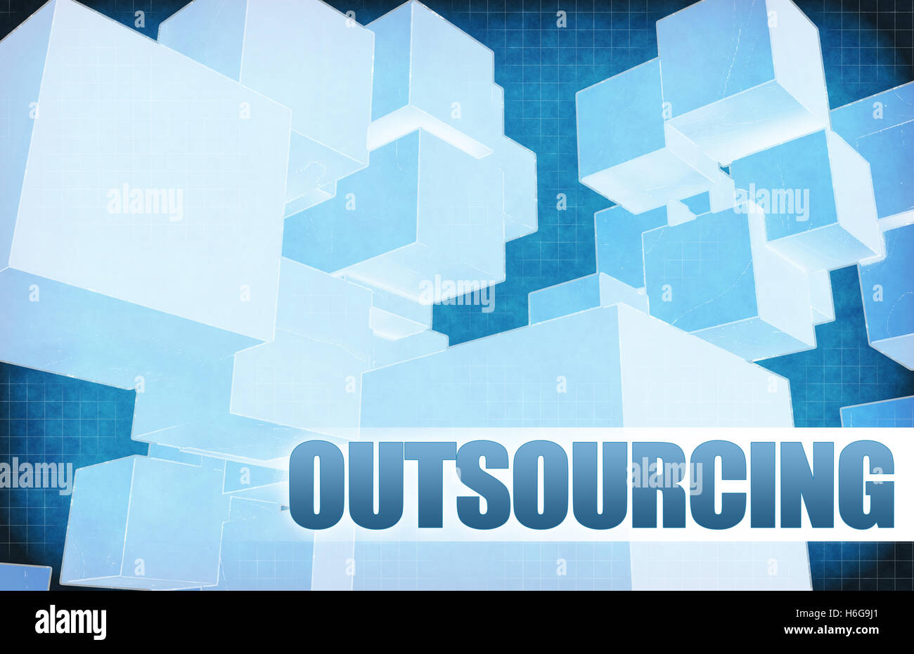 Outsourcing on Futuristic Abstract for Presentation Slide - Stock Image