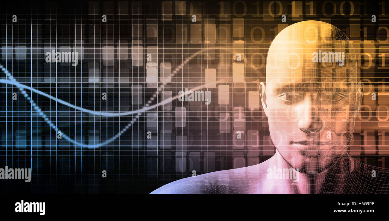 Technology Network with Futuristic Graph Chart Concept - Stock Image