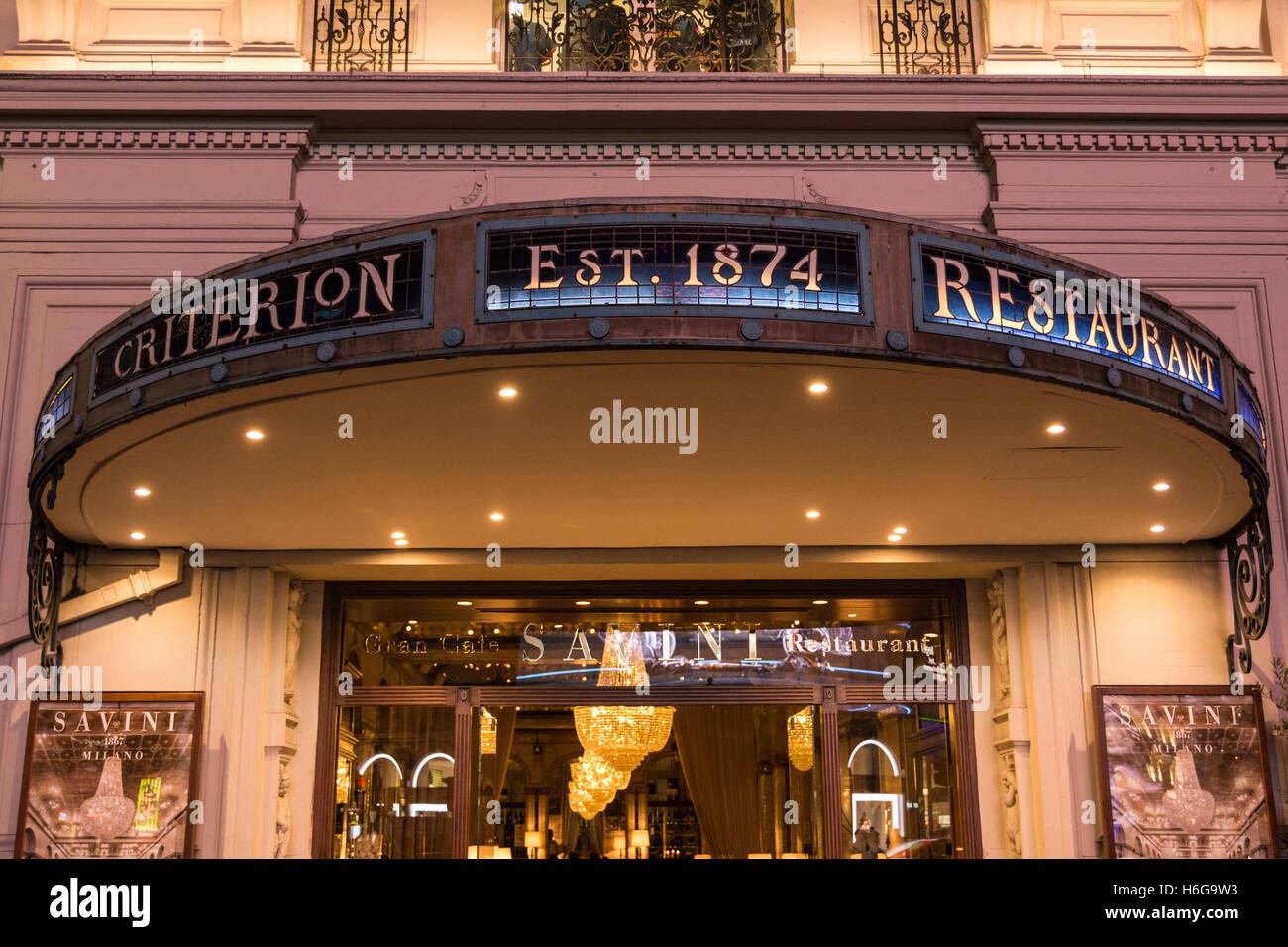 Exterior of the Criterion Restaurant in Piccadilly London England UK - Stock Image