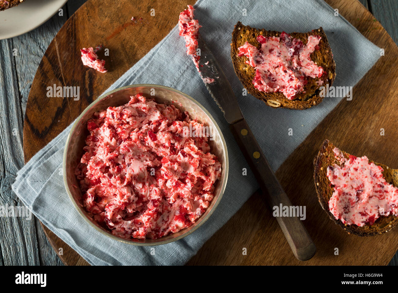 Fresh Homemade Cranberry Butter Spread with Bread - Stock Image