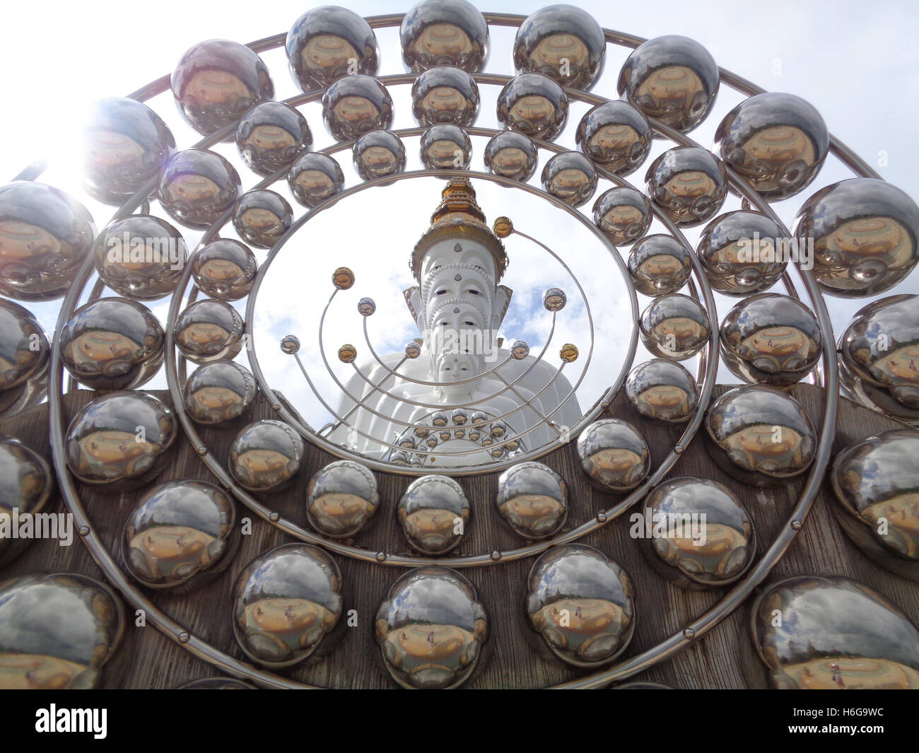 Stunning Giant Buddha Statue with the Ball Shaped Decoration in the Buddhism Temple of Thailand Stock Photo