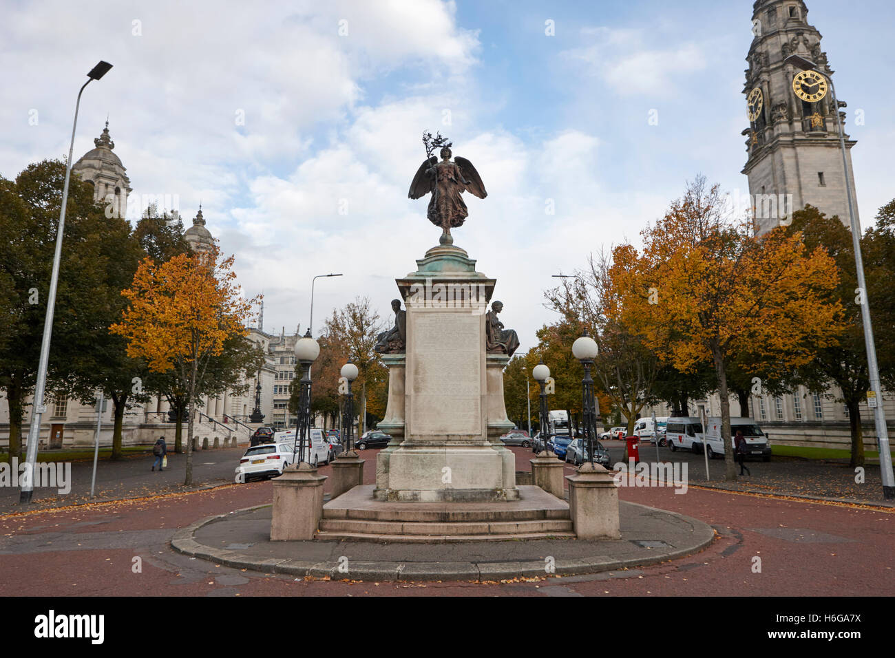 Boer south african war memorial on king edward VII avenue cathays park Cardiff Wales United Kingdom - Stock Image
