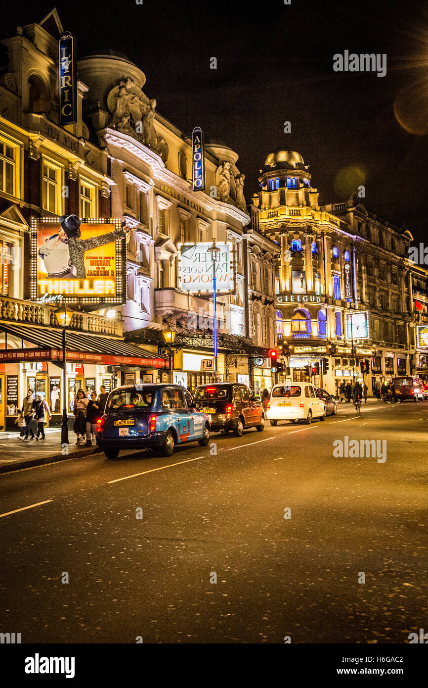 Night-time view of Theatreland on Shaftesbury Avenue, London, UK - Stock Image