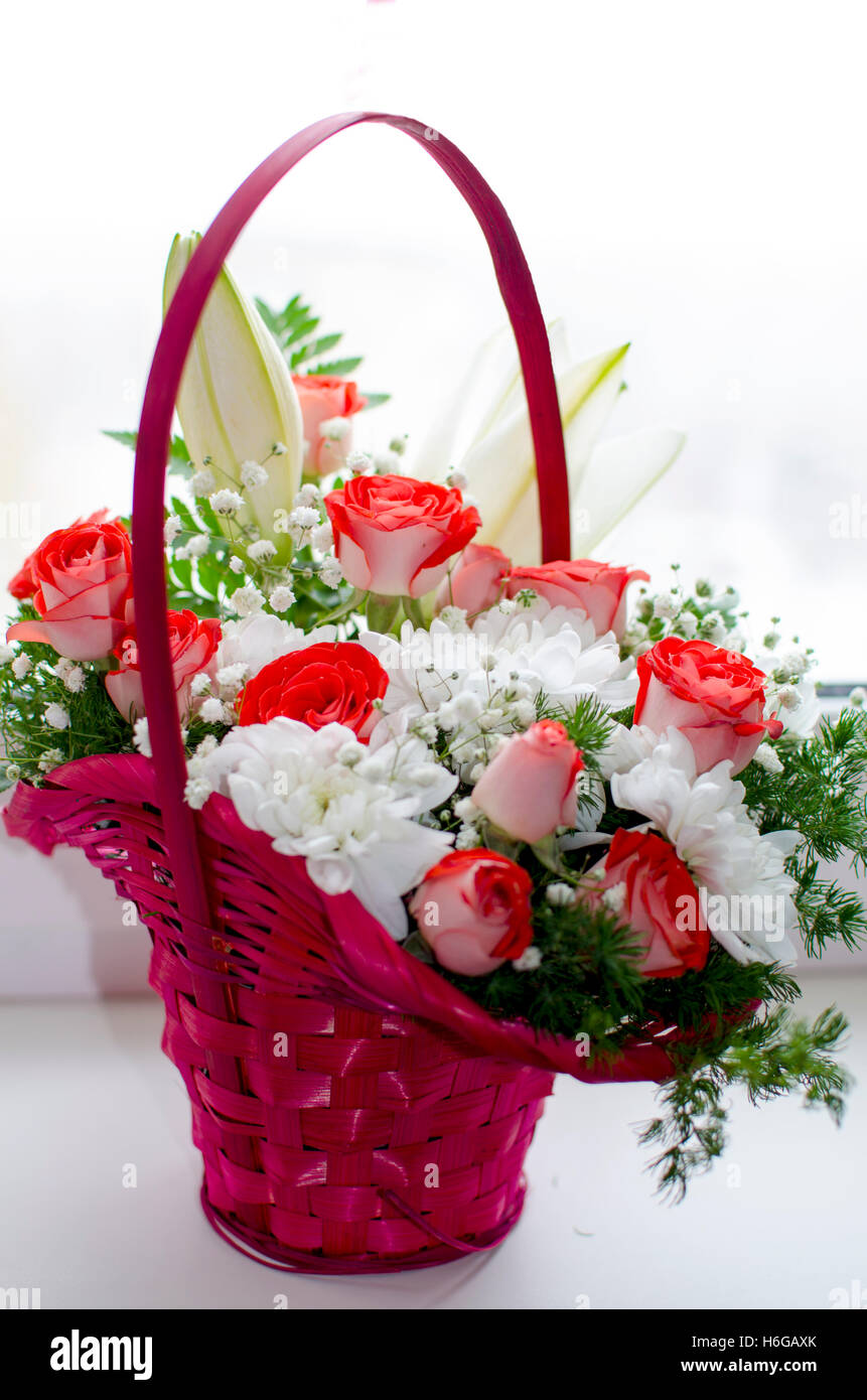 Beautiful bouquet from red roses of a lily stock photos beautiful beautiful bouquet from red roses of a lily a bouquet a gift a izmirmasajfo