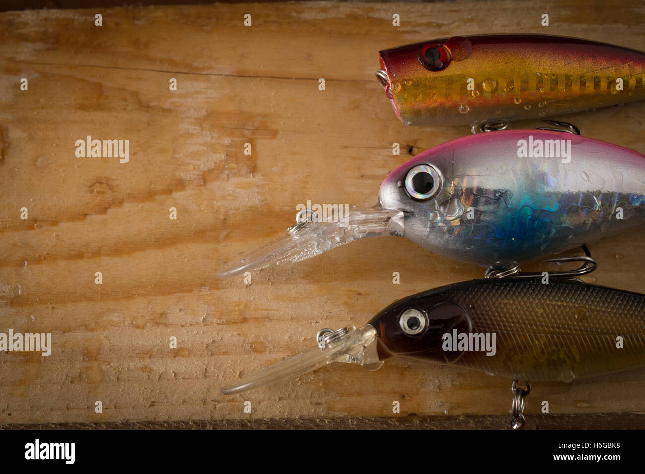 Set of Fishing Lure on wood table with copy space Stock Photo