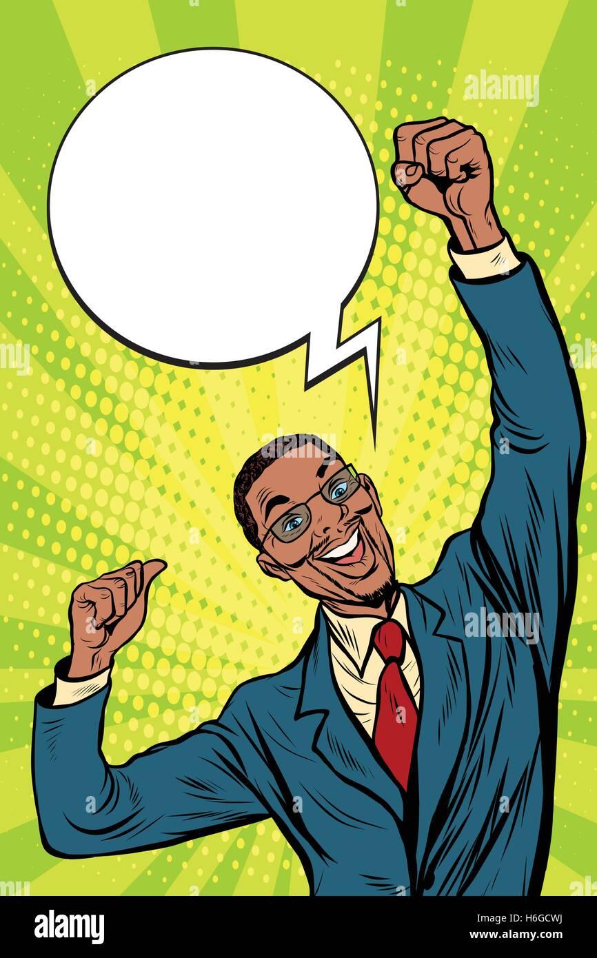 happy African businessman winner emotions - Stock Vector