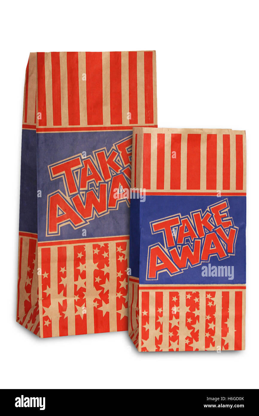 Paper brown packaging bag for snack or take away - Stock Image
