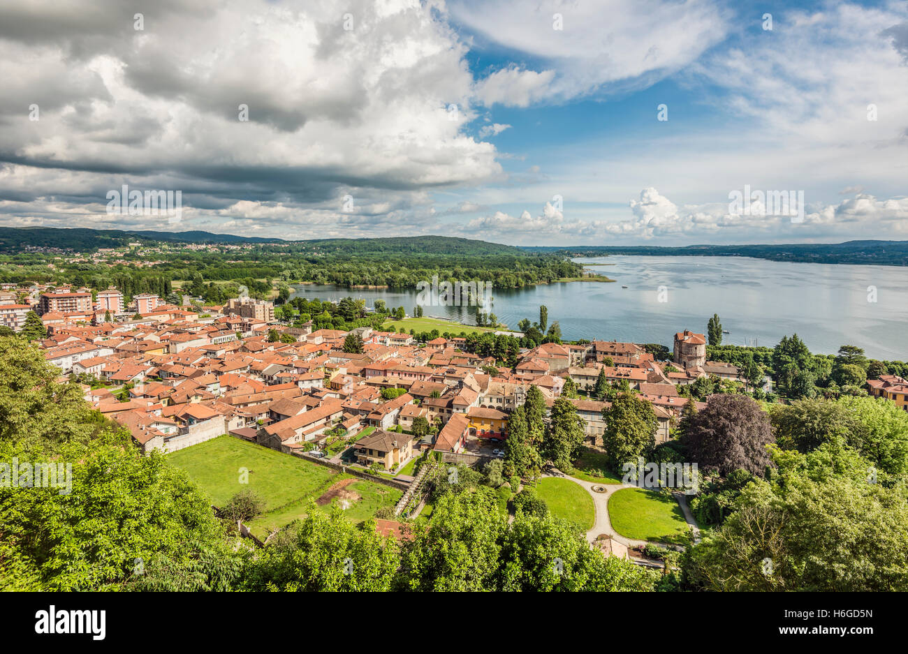 view over angera across lago maggiore seen from the castle. Black Bedroom Furniture Sets. Home Design Ideas