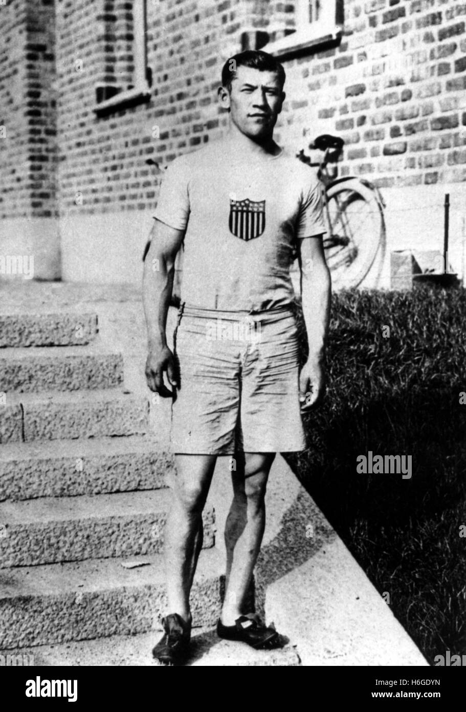 JIM THORPE (1887-1953) American athlete and Olympic Gold Medallist wearing his Olympic kit about 1912 - Stock Image